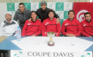 Hamza (seated, 2nd from the left) and the Tunisian Davis Cup Team