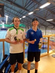 Johan Jonhagen (right) wins the U21 Swedish National Indoor crown.
