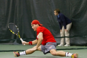 Parker McGuiness secured the Utes sole point of the day at No. 2 singles - Photo Credit: Chris Samuels, Daily Utah Chronicle