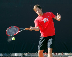 Parker McGuiness, Utah Men's Tennis, Salt Lake City, UT. (Photo / Steve C. Wilson / University of Utah)